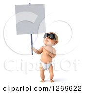 Clipart Of A 3d Blond White Baby Boy Wearing Sunglasses And Holding Up A Blank Sign Royalty Free Illustration
