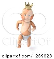Clipart Of A 3d Bald White Baby Boy Running And Wearing A Crown Royalty Free Illustration