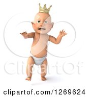 Clipart Of A 3d Bald White Baby Boy Walking And Wearing A Crown Royalty Free Illustration