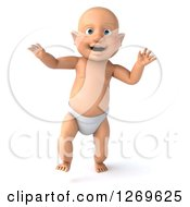 Clipart Of A 3d Bald White Baby Boy Walking Forward Royalty Free Illustration