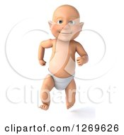 3d Bald White Baby Boy Running Forward