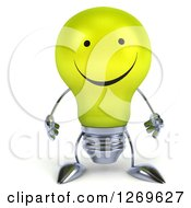 Clipart Of A 3d Happy Yellow Light Bulb Character Royalty Free Illustration