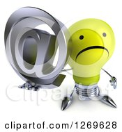 Clipart Of A 3d Unhappy Yellow Light Bulb Character Holding Up An Arobase Email Symbol Royalty Free Illustration by Julos
