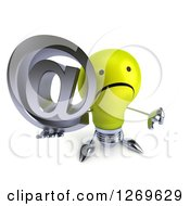Clipart Of A 3d Unhappy Yellow Light Bulb Character Holding An Arobase Email Symbol And Thumb Down Royalty Free Illustration by Julos