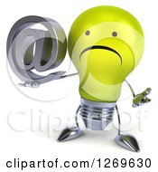 Clipart Of A 3d Unhappy Yellow Light Bulb Character Shrugging And Holding An Arobase Email Symbol Royalty Free Illustration by Julos