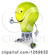 Clipart Of A 3d Happy Yellow Light Bulb Character Facing Left And Giving A Thumb Up Royalty Free Illustration by Julos
