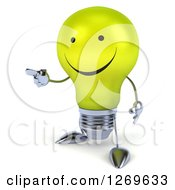 Clipart Of A 3d Happy Yellow Light Bulb Character Facing Left And Pointing Royalty Free Illustration by Julos