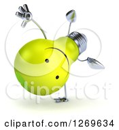 Clipart Of A 3d Happy Yellow Light Bulb Character Doing A Cartwheel Royalty Free Illustration by Julos
