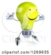 Clipart Of A 3d Happy Yellow Light Bulb Character Facing Right And Jumping Royalty Free Illustration by Julos
