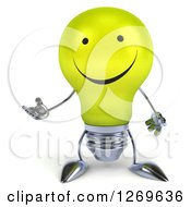 Clipart Of A 3d Happy Yellow Light Bulb Character Gesturing With One Hand Royalty Free Illustration by Julos