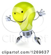 Clipart Of A 3d Happy Yellow Light Bulb Character Facing Left And Jumping Royalty Free Illustration by Julos