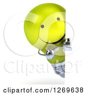 Clipart Of A 3d Happy Yellow Light Bulb Character Pointing Around A Sign Royalty Free Illustration by Julos