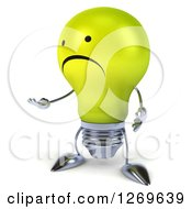 Clipart Of A 3d Unhappy Yellow Light Bulb Character Presenting Royalty Free Illustration by Julos