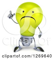 Clipart Of A 3d Unhappy Yellow Light Bulb Character Holding Up A Finger Royalty Free Illustration by Julos