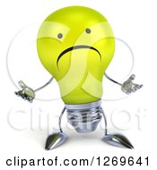 Clipart Of A 3d Unhappy Yellow Light Bulb Character Shrugging Royalty Free Illustration by Julos