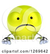 Clipart Of A 3d Unhappy Yellow Light Bulb Character Over A Sign Royalty Free Illustration by Julos