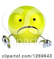 Clipart Of A 3d Unhappy Yellow Light Bulb Character Holding A Thumb Down Over A Sign Royalty Free Illustration by Julos