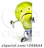 Clipart Of A 3d Unhappy Yellow Light Bulb Character Giving A Thumb Down Around A Sign Royalty Free Illustration by Julos