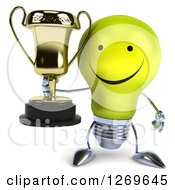 Clipart Of A 3d Happy Yellow Light Bulb Character Holding A Gold Trophy Royalty Free Illustration