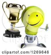 Clipart Of A 3d Happy Yellow Light Bulb Character Giving A Thumb Up And Holding A Gold Trophy Royalty Free Illustration