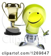 Clipart Of A 3d Happy Yellow Light Bulb Character Shrugging And Holding A Gold Trophy Royalty Free Illustration