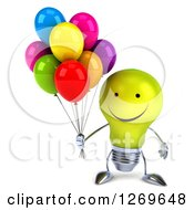 Clipart Of A 3d Happy Yellow Light Bulb Character Holding Party Balloons Royalty Free Illustration by Julos