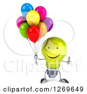 Clipart Of A 3d Happy Yellow Light Bulb Character Holding A Thumb Up And Party Balloons Royalty Free Illustration by Julos
