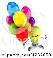 Clipart Of A 3d Happy Yellow Light Bulb Character Holding Up Party Balloons And A Thumb Royalty Free Illustration by Julos