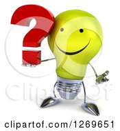 Clipart Of A 3d Happy Yellow Light Bulb Character Shrugging And Holding A Question Mark Royalty Free Illustration by Julos