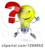 Clipart Of A 3d Happy Yellow Light Bulb Character Jumping And Holding A Question Mark Royalty Free Illustration by Julos