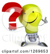 Clipart Of A 3d Happy Yellow Light Bulb Character Holding Up A Finger And A Question Mark Royalty Free Illustration by Julos