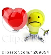 Clipart Of A 3d Unhappy Yellow Light Bulb Character Holding Up A Heart And Thumb Down Royalty Free Illustration by Julos