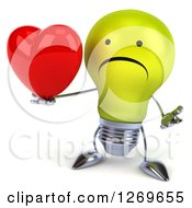 Clipart Of A 3d Unhappy Yellow Light Bulb Character Shrugging And Holding A Heart Royalty Free Illustration by Julos