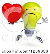 Clipart Of A 3d Unhappy Yellow Light Bulb Character Jumping And Holding A Heart Royalty Free Illustration by Julos