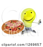 Clipart Of A 3d Happy Yellow Light Bulb Character Holding A Thumb Up And A Pizza Royalty Free Illustration by Julos