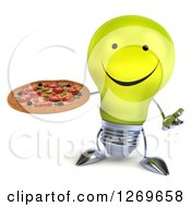 Clipart Of A 3d Happy Yellow Light Bulb Character Shrugging And Holding A Pizza Royalty Free Illustration by Julos