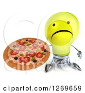 Clipart Of A 3d Unhappy Yellow Light Bulb Character Holding Up A Pizza Royalty Free Illustration by Julos