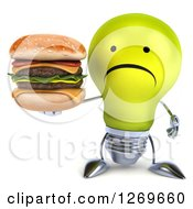 Clipart Of A 3d Unhappy Yellow Light Bulb Character Holding A Double Cheeseburger Royalty Free Illustration by Julos