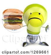 Clipart Of A 3d Unhappy Yellow Light Bulb Character Holding A Double Cheeseburger And Thumb Down Royalty Free Illustration by Julos