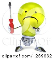 Clipart Of A 3d Unhappy Yellow Light Bulb Character Holding And Pointing At A Screwdriver Royalty Free Illustration by Julos