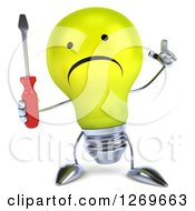 Clipart Of A 3d Unhappy Yellow Light Bulb Character Holding Up A Finger And A Screwdriver Royalty Free Illustration by Julos