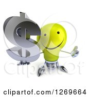 Clipart Of A 3d Happy Yellow Light Bulb Character Holding Up A Thumb And Dollar Symbol Royalty Free Illustration by Julos
