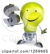 Clipart Of A 3d Happy Yellow Light Bulb Character Shrugging And Holding A Dollar Symbol Royalty Free Illustration by Julos