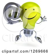 Clipart Of A 3d Happy Yellow Light Bulb Character Jumping And Holding An Arobase Email Symbol Royalty Free Illustration by Julos