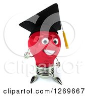 Clipart Of A 3d Happy Red Light Bulb Graduate Character Giving A Thumb Up Royalty Free Illustration
