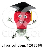 Clipart Of A 3d Happy Red Light Bulb Graduate Character Jumping Royalty Free Illustration