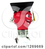 Clipart Of A 3d Happy Red Light Bulb Graduate Character Facing Right And Jumping Royalty Free Illustration