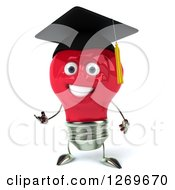 Clipart Of A 3d Happy Red Light Bulb Graduate Character Presenting Royalty Free Illustration by Julos