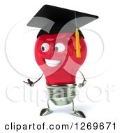 Clipart Of A 3d Happy Red Light Bulb Graduate Character Presenting To The Left Royalty Free Illustration by Julos