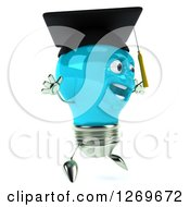 Clipart Of A 3d Happy Blue Light Bulb Graduate Character Facing Right And Jumping Royalty Free Illustration by Julos